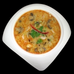 11 Spicy and sour flavoured soup with lemongrass, lemon juice, kaffir Lime leaves, galanga root and mushrooms.