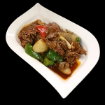 29 Stir-fried prime beef with onion, spring onion mixed peppers, chillies & cashew nuts in chilli oil.