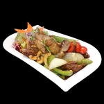 41A Crispy Duck with Onion, peppers, chillies, cashew nuts & chilli oil.