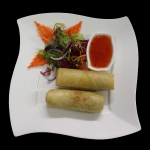 4A. Spring rolls with mixed vegetables, bean vermicelli and sliced duck serves with sweet chilli sauce.