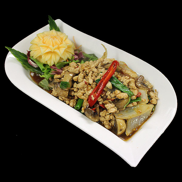 17 Ground chicken breast stir-fried with onions, mushroom, chillies & basil leaves.