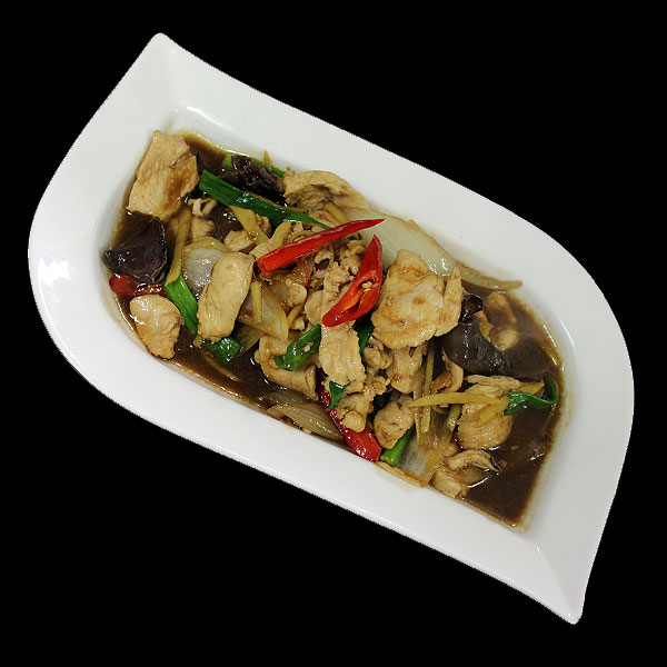 18 Sliced chicken breast stir-fired with fresh ginger, chillies, black fungus, onion, spring onion and soya bean sauce.