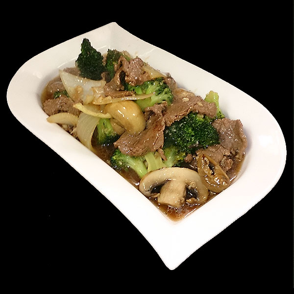 32 Stir-fried prime beef with broccoli, garlic, sesame oil & oyster sauce.