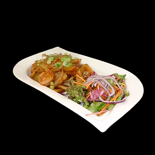 46. Stir fried tiger prawns marinated in our chef's special red wine sauce with fresh ginger.