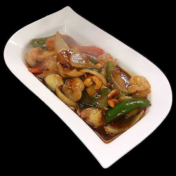 60 Tiger prawns with onion, spring onion, mixed peppers and cashew nuts in chilli oil.