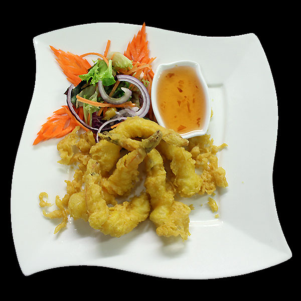 8A Tiger prawns in tempura batter, deep-fried & served with plum sauce.
